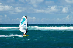 Windsurfer in windy weather on Maui Island Royalty Free Stock Photo
