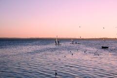 Windsurfers, Балтийское море, залив шайбы Стоковое Фото