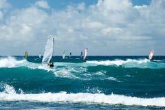 Windsurfers в ветреной погоде на острове Мауи Стоковое фото RF