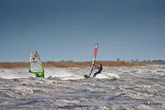 Windsurfers в шторме Стоковые Изображения