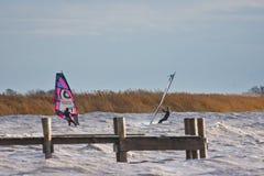 Windsurfers за этапом посадки Стоковое фото RF