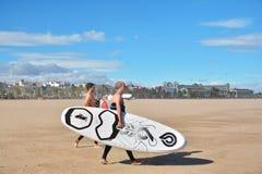 Windsurfers, пляж Malvarrosa, Валенсия, Испания Стоковое Фото