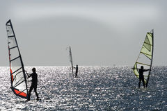 Windsurfers on aegean sea Royalty Free Stock Image