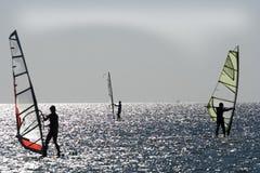 Windsurfers on aegean sea Royalty Free Stock Image