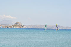 Windsurfers in the Aegean Sea Stock Photo