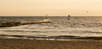 Windsurfers auf dem Meer während des Sonnenaufgangs Stockbilder