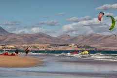 Windsurfers at the beach Sotavento, Fuerteventura, Canary Islands Royalty Free Stock Images