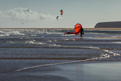 Windsurfers at the beach Sotavento, Fuerteventura, Canary Islands Stock Photography