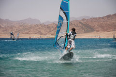 Windsurfers in Dahab. Windsurfing in Dahab, Egypt, Red Sea Royalty Free Stock Photo