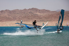 Windsurfers in Dahab. Extreme. Royalty Free Stock Image