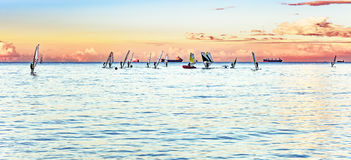 Windsurfers on the horizon Royalty Free Stock Photography