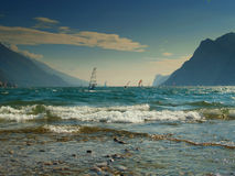 Windsurfers on Lake Garda Royalty Free Stock Photography