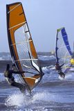 Windsurfers on the north sea in Holland Royalty Free Stock Images