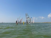 Windsurfers sail at the Festival of Sports and Leisure. `E-Bank`: Summer Fun Adventure. RUSSIA, Novosibirsk, August 5, 2017 Royalty Free Stock Photography