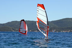 Windsurfers surfing in the Adriatic Sea Stock Photography