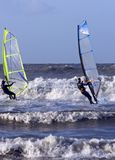 Windsurfers surfing on the north sea in Netherland Royalty Free Stock Photography