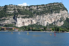 Windsurfers,Torbele, Lake Garda, Italy. Royalty Free Stock Photo