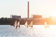 Windsurfers trenują na wielkim jeziorze Fotografia Stock