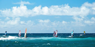 Windsurfers in windy weather on Maui Island panorama Royalty Free Stock Photography