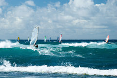 Windsurfers in windy weather on Maui Island Royalty Free Stock Photo