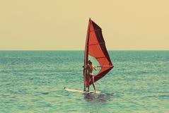 Windsurfing - εκλεκτής ποιότητας αναδρομικό ύφος Στοκ Εικόνες