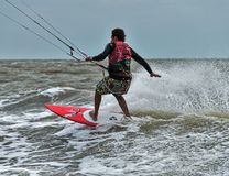 Windsurfing και στο Dolzhanka, περιοχή Krasnodar, Στοκ εικόνες με δικαίωμα ελεύθερης χρήσης