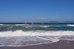 Windsurfing στη Artemis, Ελλάδα Στοκ Εικόνες