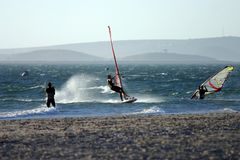Windsurfing 2. Windsurfing in Langebaan stock photography