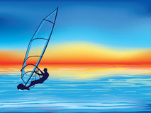 Windsurfing. Vector illustration of a man windsurfing Stock Images