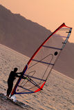 Windsurfing. On the bay during sunset Stock Image