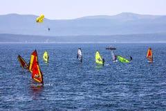 Windsurfing on Adriatic sea, Croatia, Brac island Stock Photos