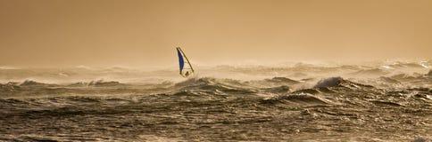 Windsurfing al tramonto Fotografie Stock