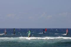 Windsurfing alla sosta della spiaggia di Hookipa, Maui, Hawai Fotografia Stock