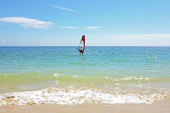 Windsurfing on the atlantic ocean in Portugal Royalty Free Stock Images