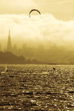 Windsurfing in the bay. Windsurfing in San Francisco Bay Royalty Free Stock Image