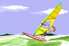 Windsurfing on the beach Royalty Free Stock Photography