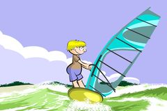 Windsurfing on the beach Stock Images