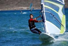 Windsurfing in beweging Stock Foto