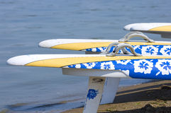 Windsurfing Boards on Lakefront Stock Photography