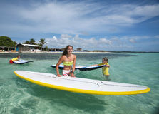 Windsurfing on Bonaire. stock images