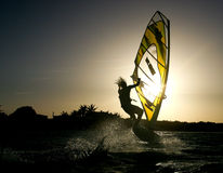 Windsurfing on Bonaire 5. stock images