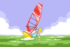 Windsurfing boy in the sea Stock Photos