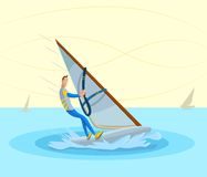 Windsurfing. Cartoon style sportsman doing windsurfing in vector Royalty Free Stock Image