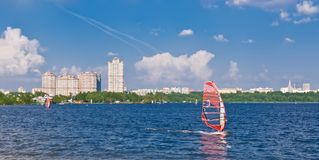 Windsurfing in the city. On Moscow river, Russia Royalty Free Stock Photo