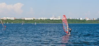 Windsurfing in the city. On Moscow river, Russia Royalty Free Stock Photos