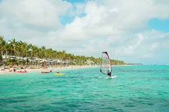 Windsurfing at the coast of Dominican Republic stock image