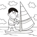 Windsurfing-coloring book vector illustration