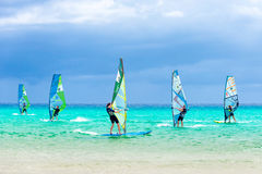 Windsurfing competition - Sotavento beach, Fuerteventura. Fuerteventura, Spain - October 4, 2016: Windsurfing competition - Sotavento beach, Fuerteventura stock photos
