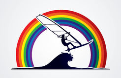 Windsurfing. Designed on line rainbows background graphic vector Stock Image