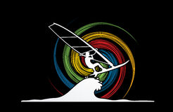 Windsurfing. Designed on spin wheel background graphic vector Stock Photography